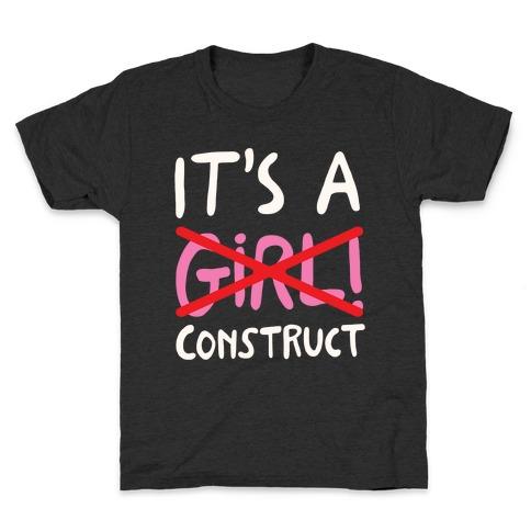 It's A Construct Girl Parody White Print Kids T-Shirt