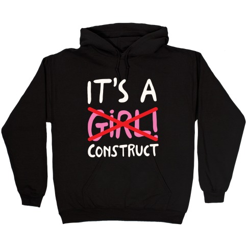 It's A Construct Girl Parody White Print Hooded Sweatshirt