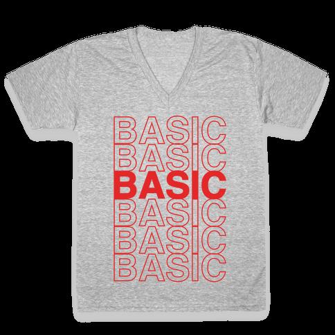 Basic Thank You Grocery Bag Parody White Print V-Neck Tee Shirt