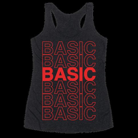 Basic Thank You Grocery Bag Parody White Print Racerback Tank Top
