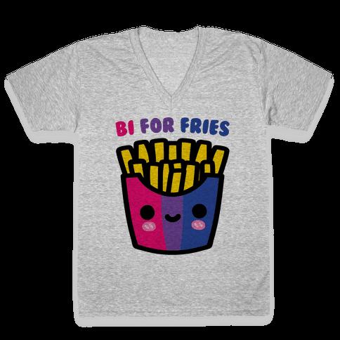 Bi For Fries V-Neck Tee Shirt