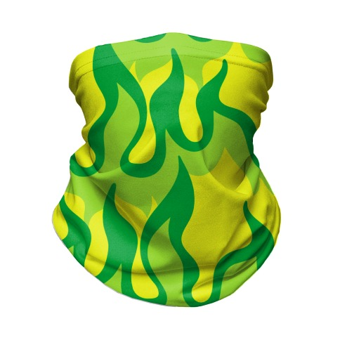 Green Flames Neck Gaiter