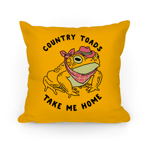 Country Toads Take Me Home Pillow