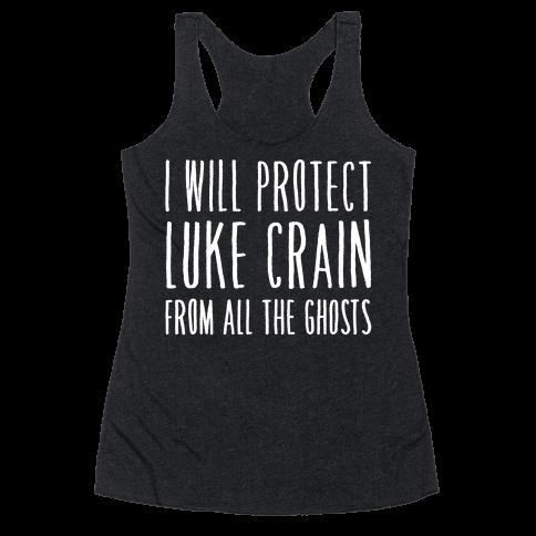 I Will Protect Luke Crain Parody White Print Racerback Tank Top