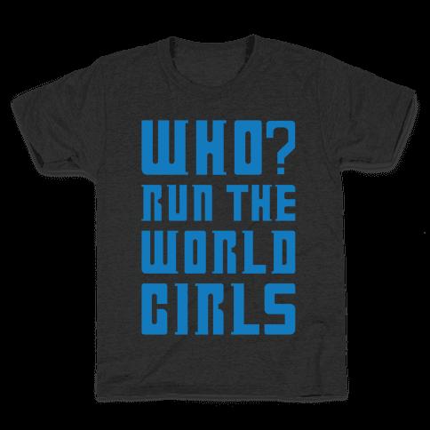 Who Run The World Girls Doctor Who Parody White Print Kids T-Shirt