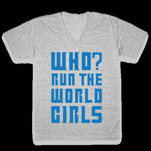 Who Run The World Girls Doctor Who Parody White Print V-Neck Tee Shirt