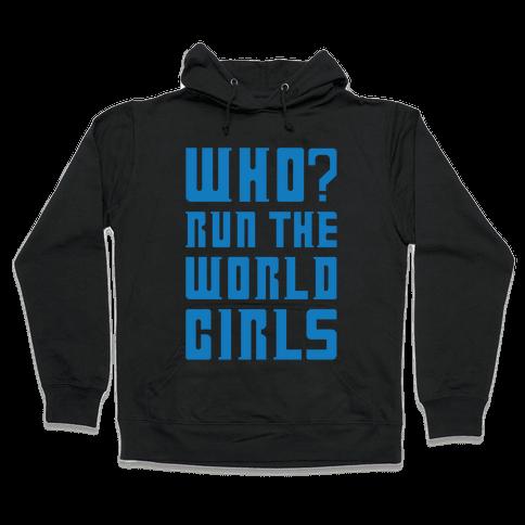 Who Run The World Girls Doctor Who Parody White Print Hooded Sweatshirt