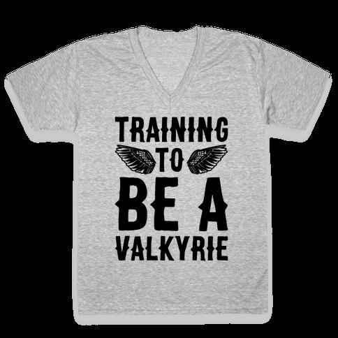 Training To Be A Valkyrie Parody V-Neck Tee Shirt