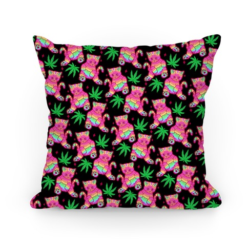 Rainbow Weed Kitty Pillow