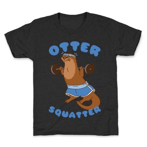 Otter Squatter White Print Kids T-Shirt