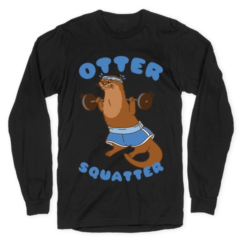 Otter Squatter White Print Long Sleeve T-Shirt