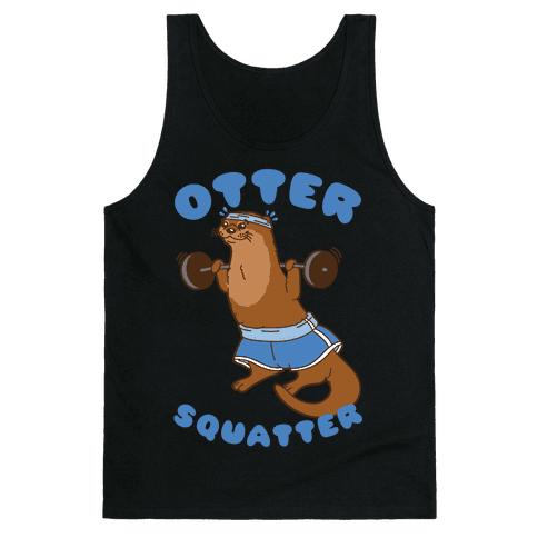 Otter Squatter White Print Tank Top