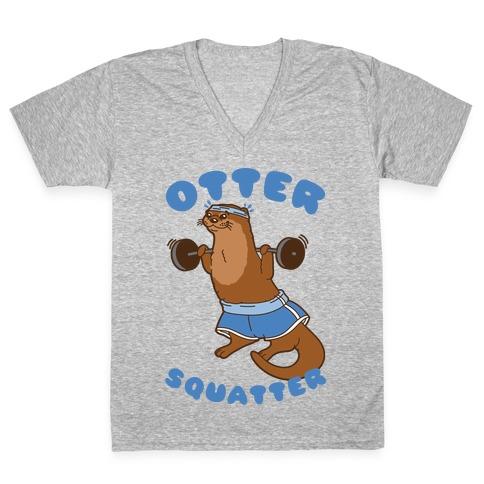 Otter Squatter White Print V-Neck Tee Shirt
