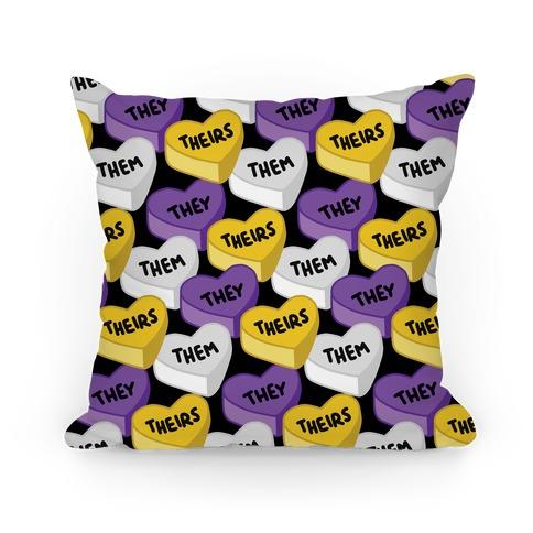 Nonbinary Pronoun Candy Hearts Pillow