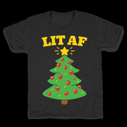 Lit Af White Print Kids T-Shirt
