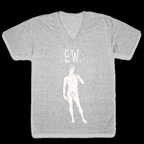 Ew David Parody White Print V-Neck Tee Shirt