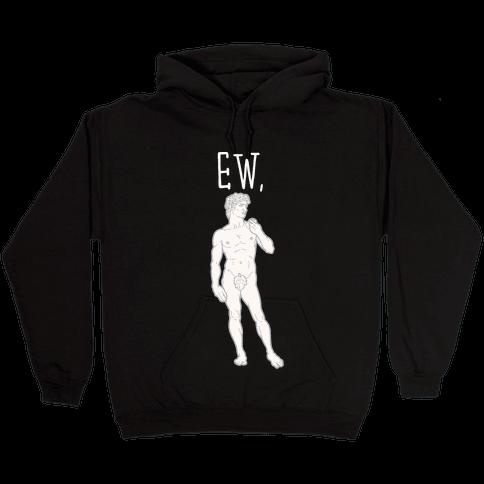 Ew David Parody White Print Hooded Sweatshirt