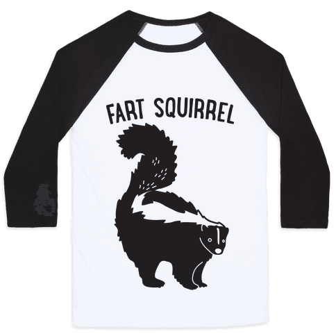 Fart Squirrel Skunk Baseball Tee