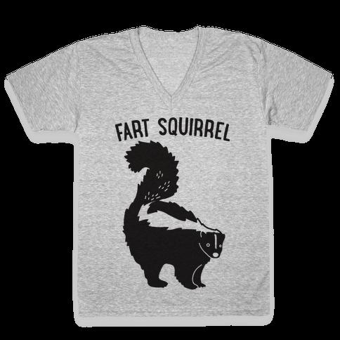 Fart Squirrel Skunk V-Neck Tee Shirt