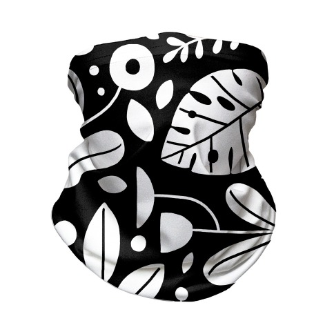 Black and White Plant Pattern Neck Gaiter