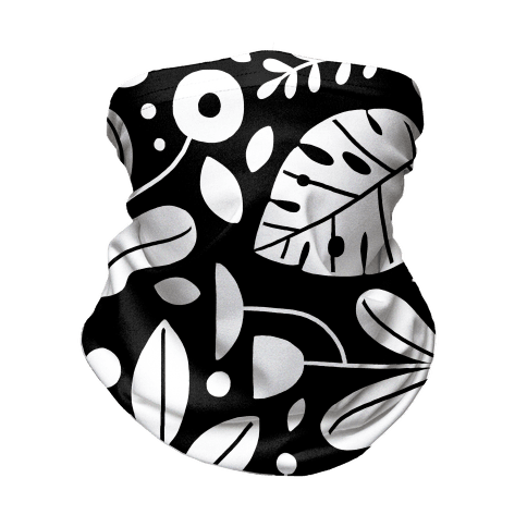 Black and White Plant Pattern Neck Gaiter