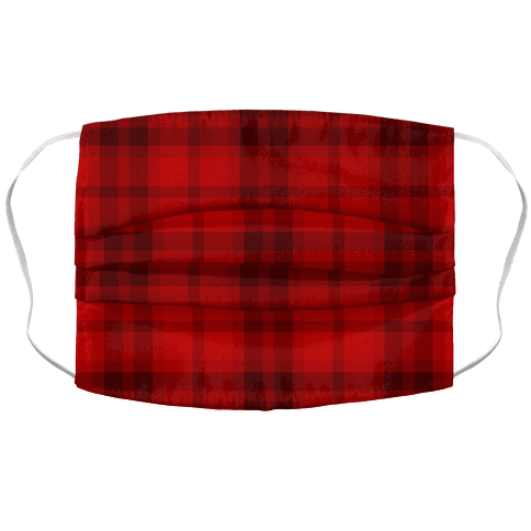 Red Plaid Face Mask Cover