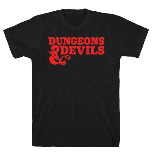 Dungeons & Devils Parody White Print T-Shirt