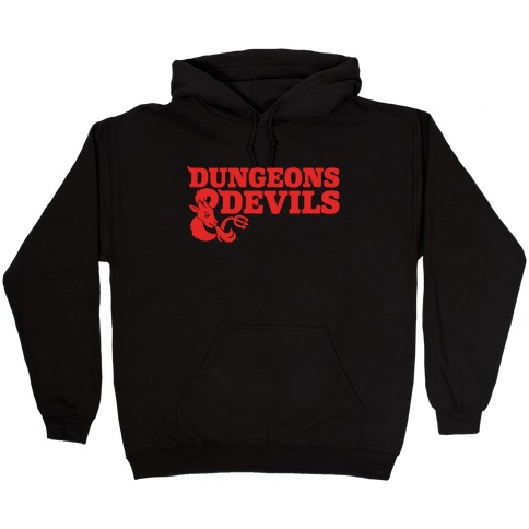 Dungeons & Devils Parody White Print Hooded Sweatshirt