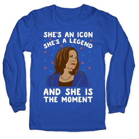 She Is The Moment Kamala Harris White Print Long Sleeve T-Shirt