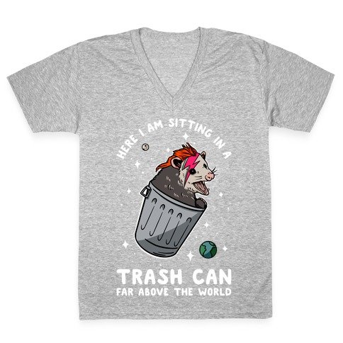 Here I am Sitting in a Trash Can Far Above the World Opossum V-Neck Tee Shirt