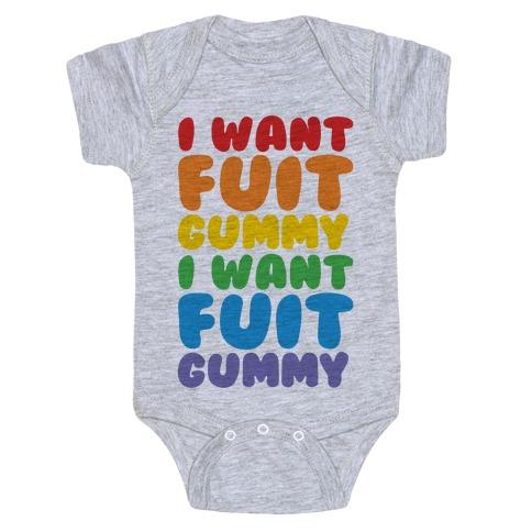 I Want Fuit Gummy Baby Onesy