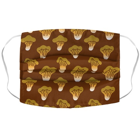 Golden Oyster Mushroom Brown Pattern Accordion Face Mask
