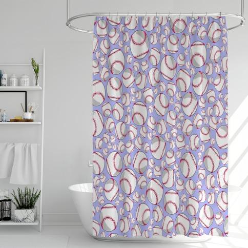Baseballs Pattern Shower Curtain