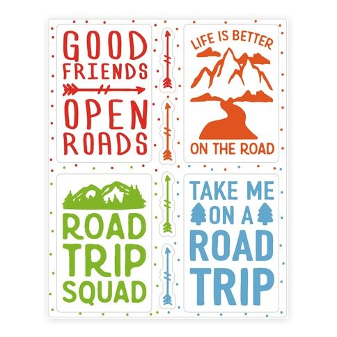 Road Trip Sticker Sheet Sticker and Decal Sheet