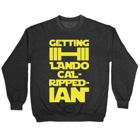 Getting Lando Cal-Ripped-ian Parody White Print Pullover