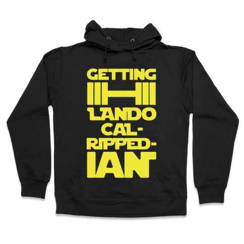 Getting Lando Cal-Ripped-ian Parody White Print Hooded Sweatshirt