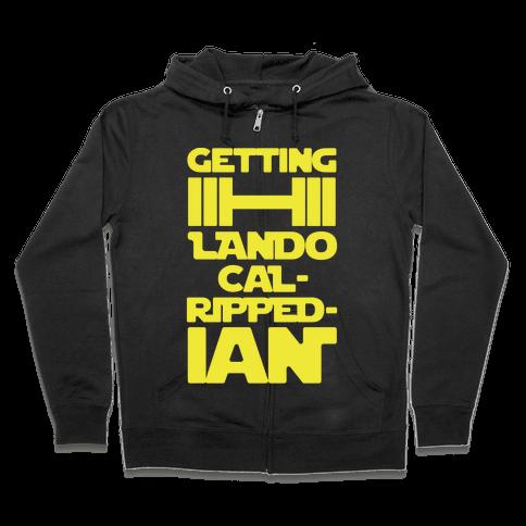 Getting Lando Cal-Ripped-ian Parody White Print Zip Hoodie