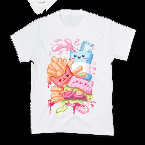 Purrger and fries Pixel Art Kids T-Shirt