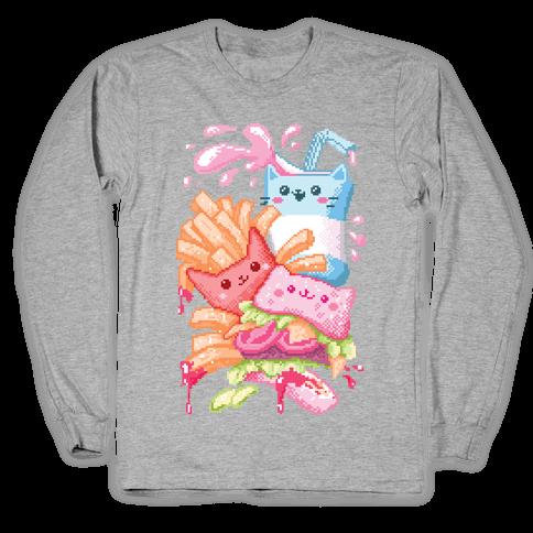 Purrger and fries Pixel Art Long Sleeve T-Shirt