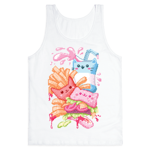 Purrger and fries Pixel Art Tank Top