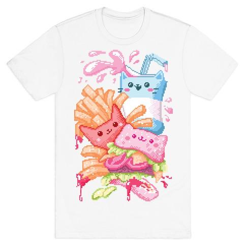 Purrger and fries Pixel Art T-Shirt