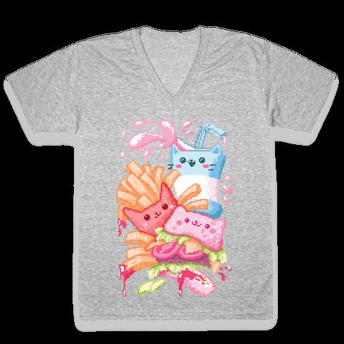 Purrger and fries Pixel Art V-Neck Tee Shirt