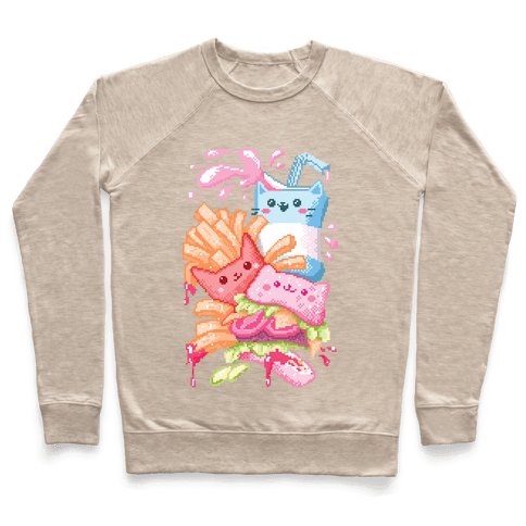 Purrger and fries Pixel Art Pullover