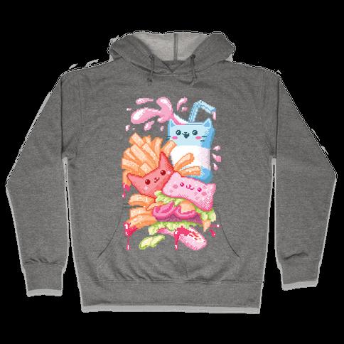 Purrger and fries Pixel Art Hooded Sweatshirt