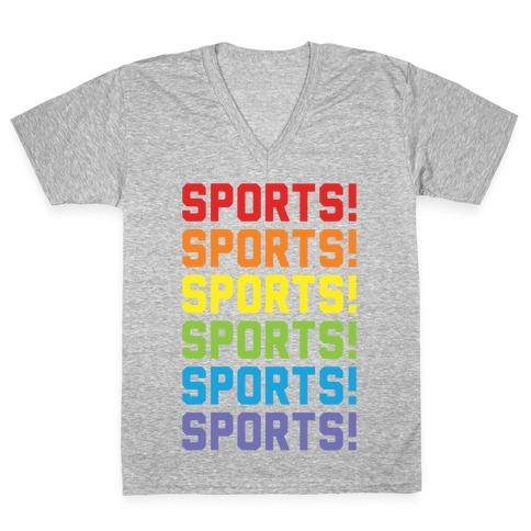 Sports Sports Sports V-Neck Tee Shirt
