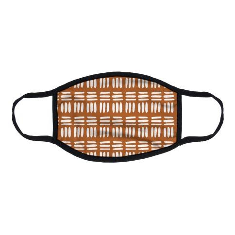 Dashed Lines Rust Boho Pattern Flat Face Mask