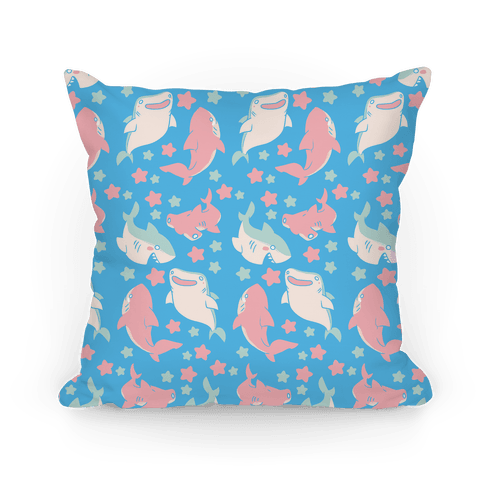 Happy Shark Pattern Pillow
