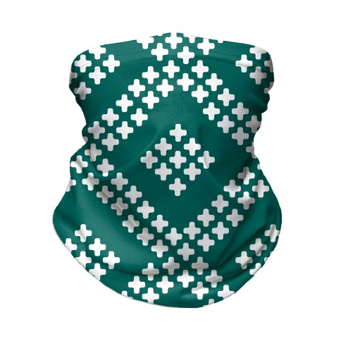 Little Cross Pattern Teal Neck Gaiter