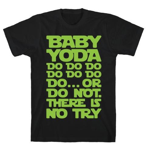 Baby Yoda Baby Shark Parody White Print T-Shirt