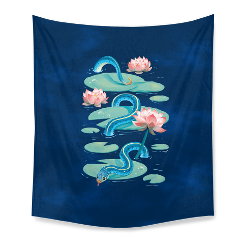 Garter Among Lily Pads Tapestry